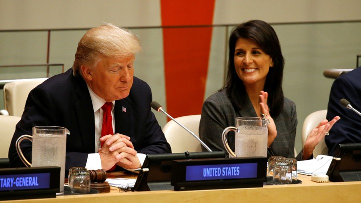 Nikki Haley and Donald Trump sit together at the UN.