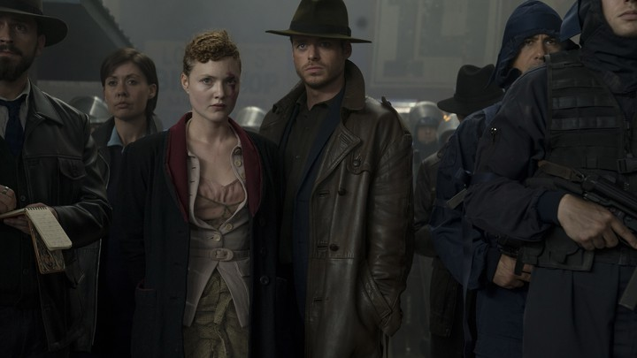 Holliday Grainger and Richard Madden play a telepath and a government agent in the episode 'The Hood Maker.'