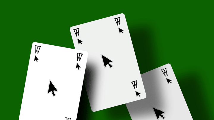 Playing cards with computer mice and the letter 'W' on them
