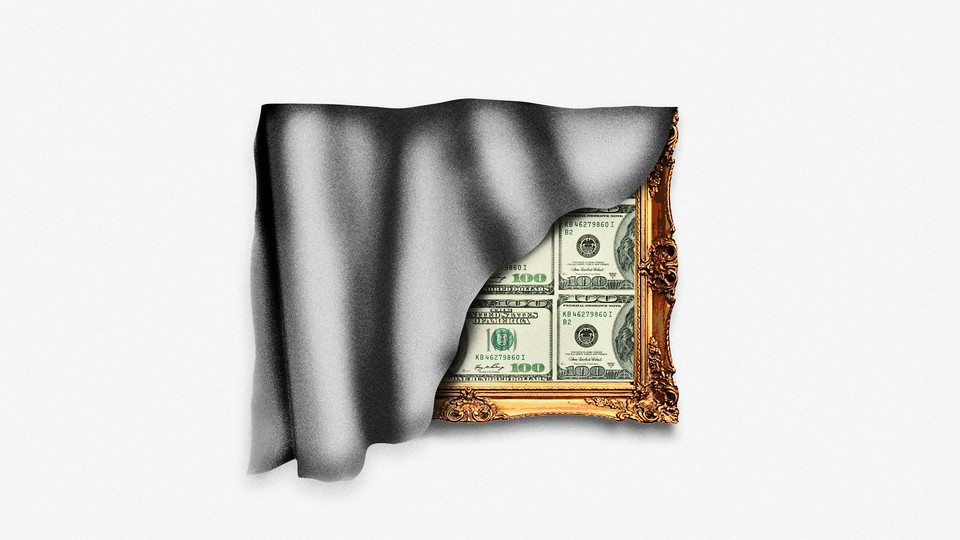 Illustration of framed $100 bills covered by fabric