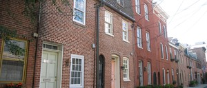 Baltimore row houses are pictured.
