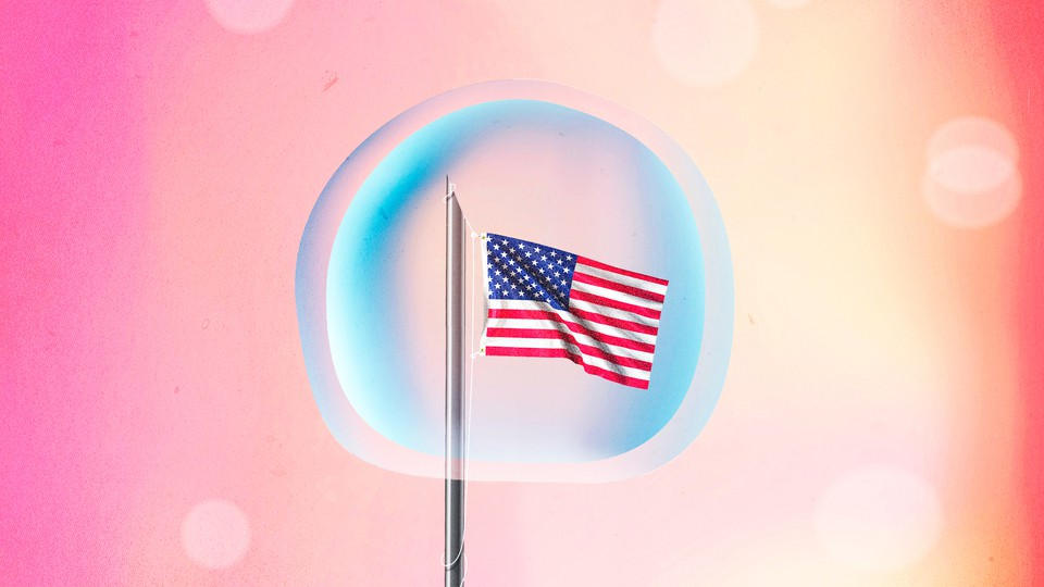 Illustration of an American flag inside an egg
