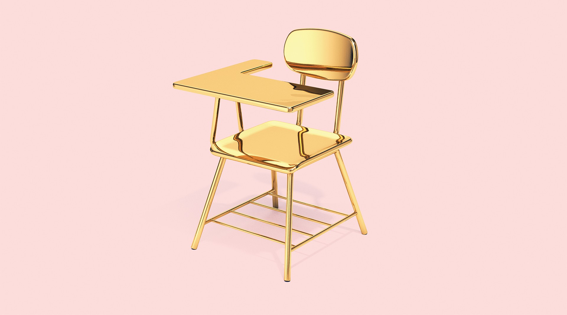 illustration: a solid gold school desk on a pink background