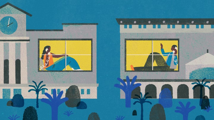 An illustration of friends talking over the phone in their own dorm buildings at night.
