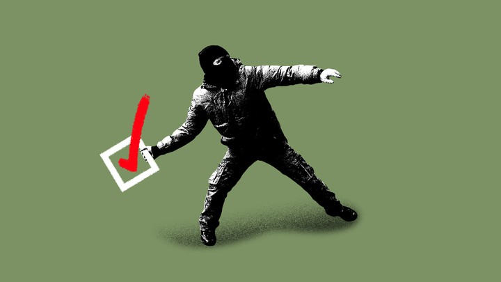 An illustration of a protester holding a checkmark voting box.
