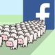 A graphic of several cows emerging from Facebook's logo