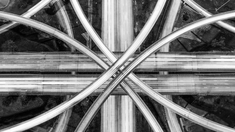 An aerial view of criss-crossing highways.