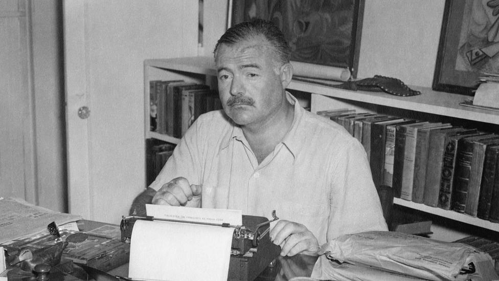 Hemingway at his typewriter