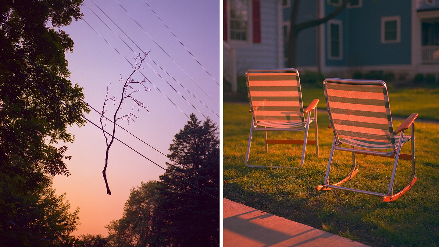 Tree branch on electric line, two reclining lawn chairs