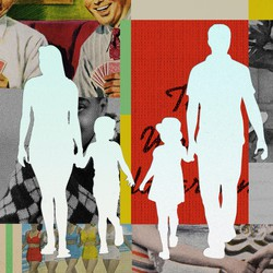A collage of vintage photos of smiling adults, with the empty silhouettes of two parents and two kids superimposed over them