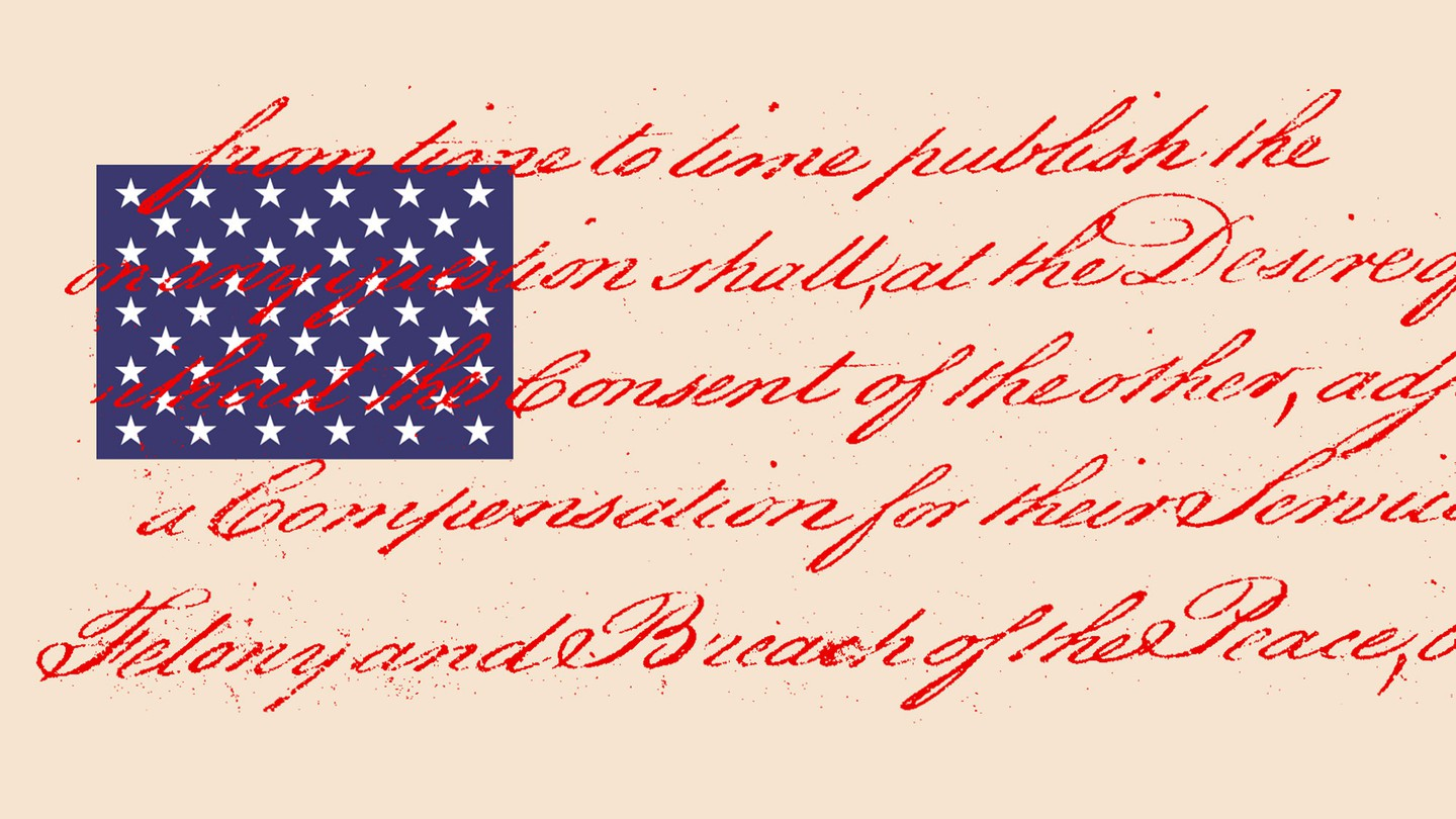 An American flag, but instead of the red and white stripes, there is red script from the Constitution set against a beige background next to the blue and white stars..