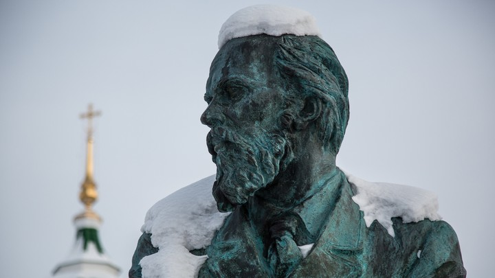 A statue of the writer Fyodor Dostoyevsky in Tobolsk, Russia