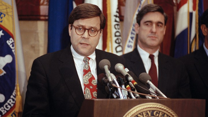 William Barr, left, and Robert Mueller served together in the Justice Department under President George H. W. Bush in the early 1990s.