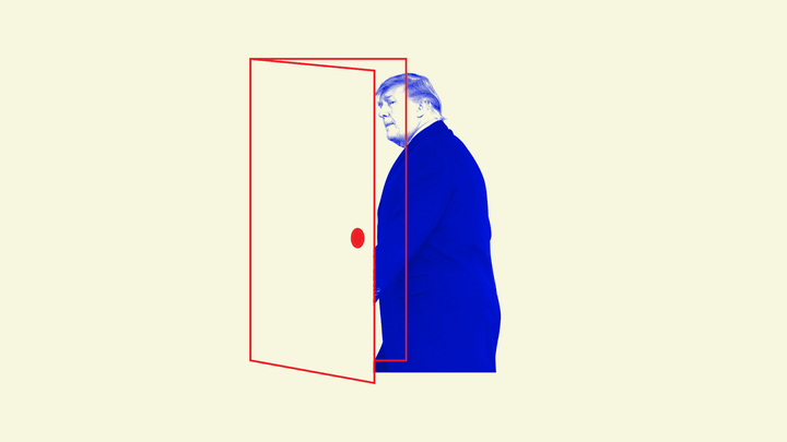 An illustration of Donald Trump walking out of a door
