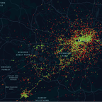 a map of London Uber driver James Farrar's trip data.