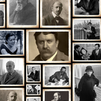 A portrait collage of famous thinkers, writers, planners, and designers