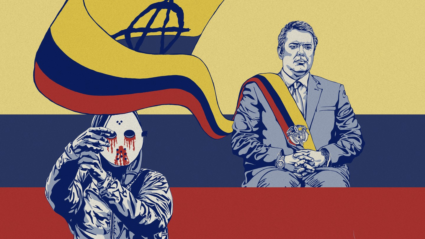An illustration of Ivan Duque in front of the Colombian flag.