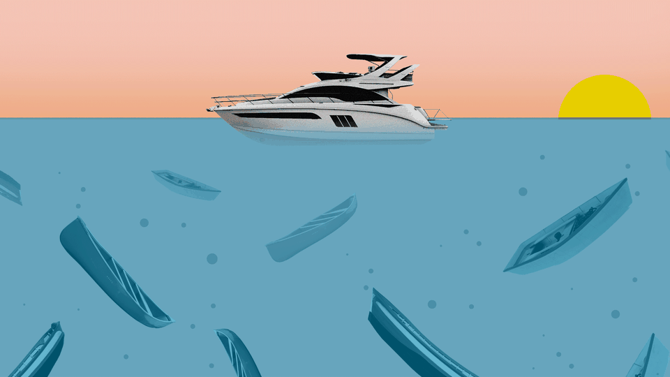 An illustration of a yacht with sinking boats underneath