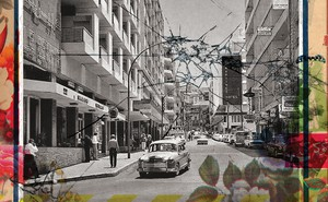 illustration of cracked glass and rose border over vintage black-and-white photo of Beirut