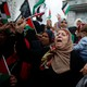 Palestinian women shout slogans during a protest in Gaza City.