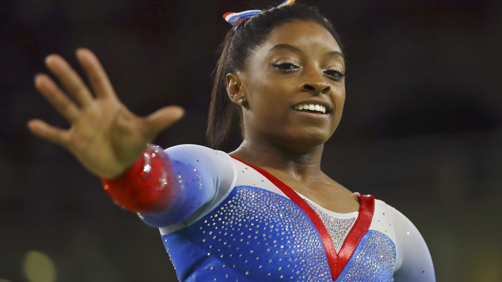 Simone Biles of USA competes in the floor finals at the 2016 Olympics in Rio de Janeiro.