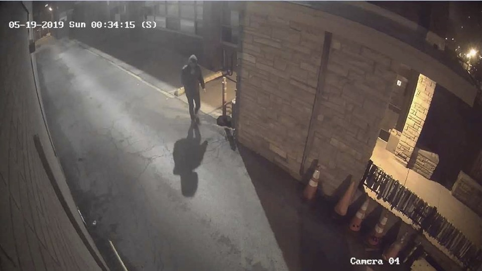 A surveillance video shows the person who tried to use Molotov cocktails to start a fire at the Anshe Sholom B'nai Israel Congregation.