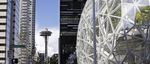 Amazon's Seattle headquarters are pictured with the Space Needle.