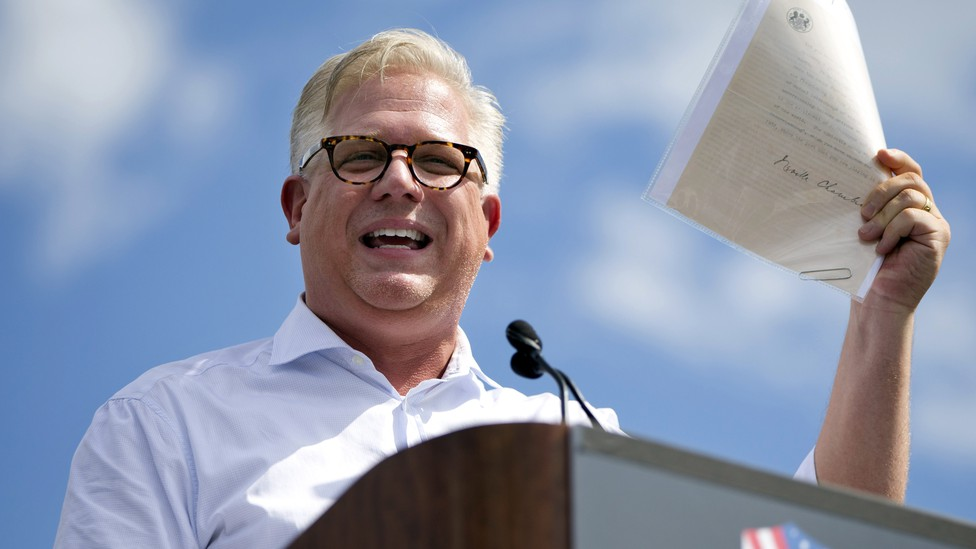 In this Wednesday Sept. 9, 2015, file photo, radio host Glenn Beck speaks during a Tea Party rally against the Iran deal on the West Lawn of the Capitol in Washington.