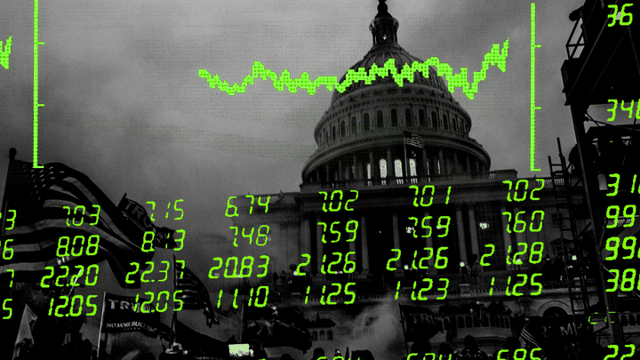 An illustration of the Capitol with stock numbers.