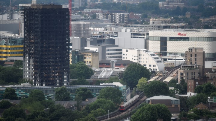 The burnt remains of the Grenfell apartment tower as seen on June 29, 2017.