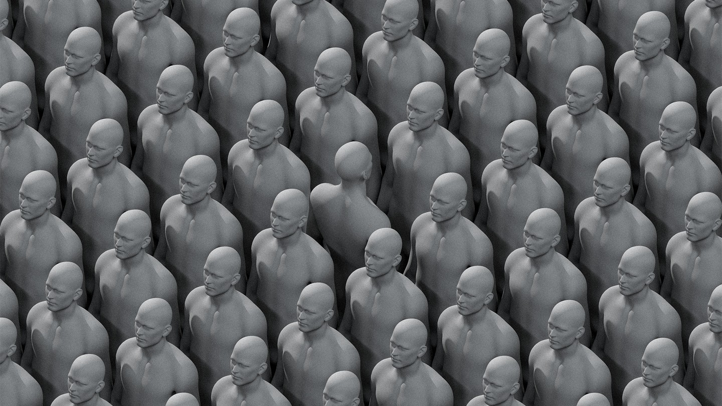 a sea of people with one person facing the opposite direction
