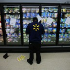 A worker at a Walmart in Compton, California.