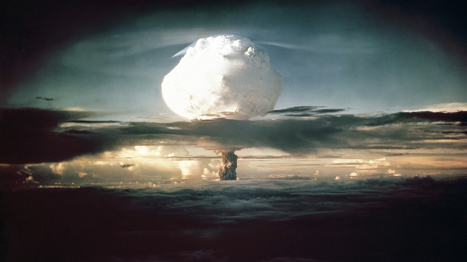 A mushroom cloud over an ocean