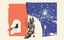 Collage illustration of red and blue shapes with Princess Leia's eyes and the Mandalorian raising his weapon