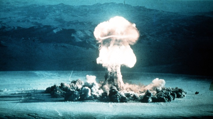 An atomic test explosio​n in Nevada, U.S.A., in 1955.
