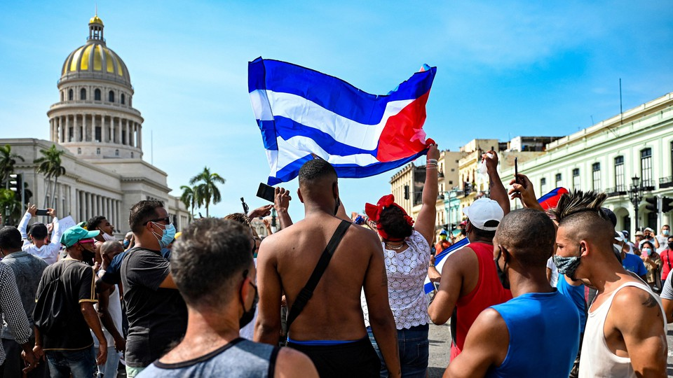 Protesters in Havana on July 11