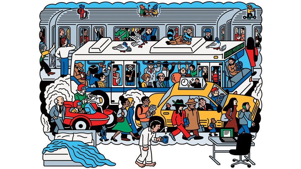 Illustration of a man walking from his bed to computer while imagining a crowded sidewalk in front of a taxi in front of a crowded bus in front of a crowded train
