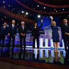 a photo of Democratic presidential candidates before the second night of debate in Miami.