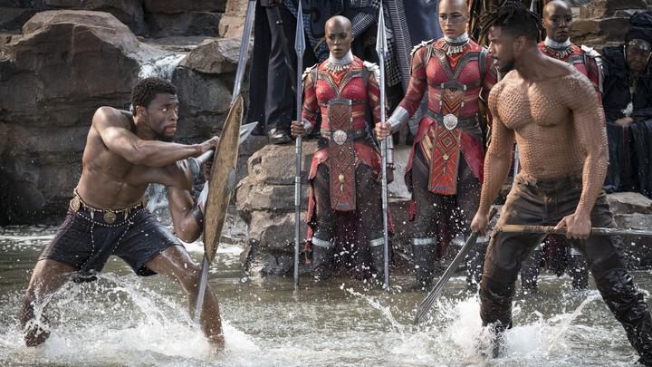 T'Challa/Black Panther (Chadwick Boseman) and Erik Killmonger (Michael B. Jordan)