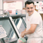 "Butcher Gerardo 'Tolo' Martínez in a scene from ""A Good Butcher."""