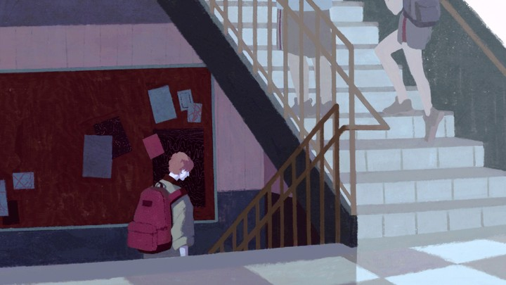 Illustration of a boy standing alone on school stairs