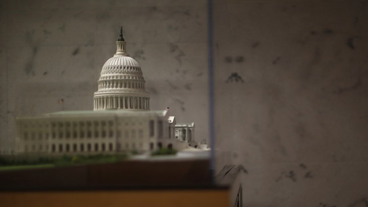 A scaled model of the U.S. Capitol is pictured in the Dirksen Senate Office Building in Washington.