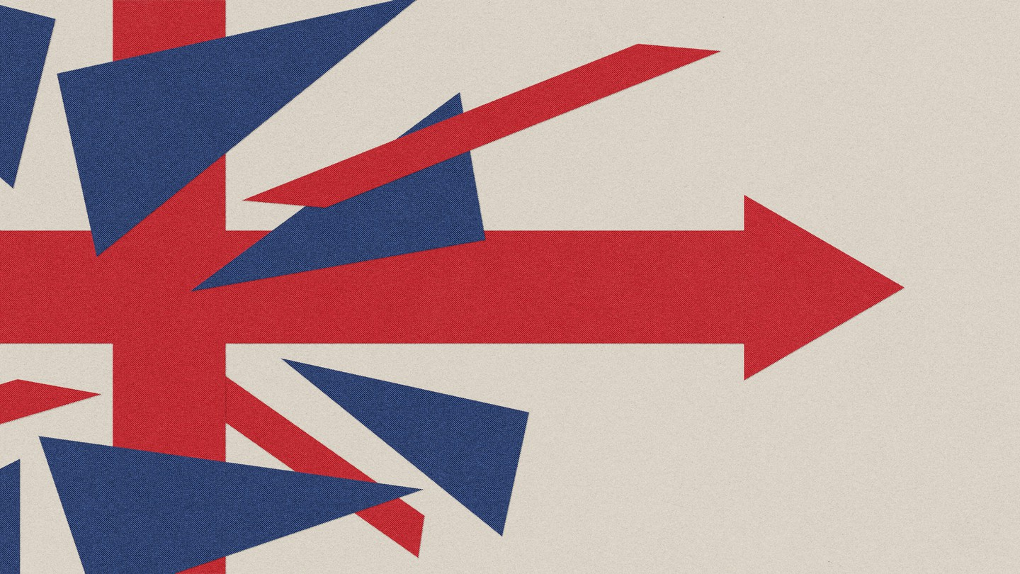 A fractured British flag with an arrow pointing right