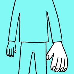 line drawing of person with giant left hand