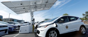a photo of a small fleet of electric Chevrolet Bolts cars.