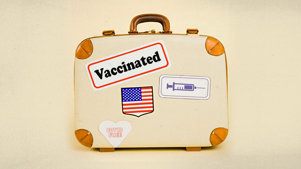 """A suitcase with four stickers. One features a syringe, one is a U.S. flag, one says """"Vaccinated,"""" and another says """"COVID Free."""""""