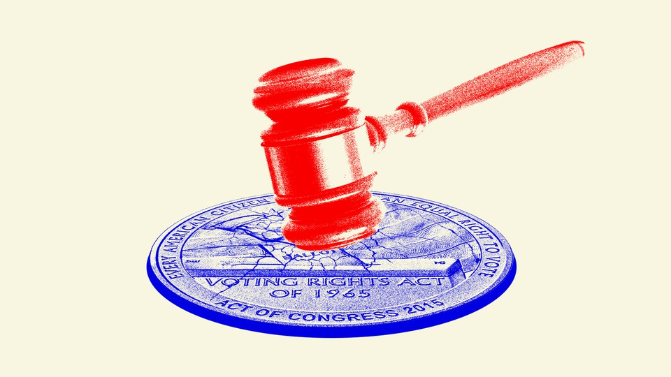 Artwork of a gavel smashing a seal commemorating the Voting Rights Act