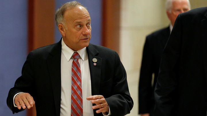 Representative Steve King of Iowa looks into the distance before entering a meeting at the Capitol.
