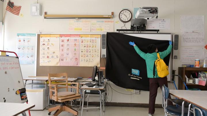 A teacher in a classroom