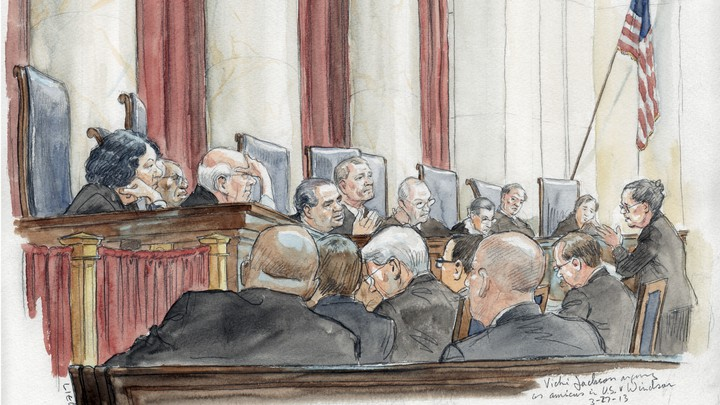 Drawing of the attorney Vicki Jackson arguing before the Supreme Court